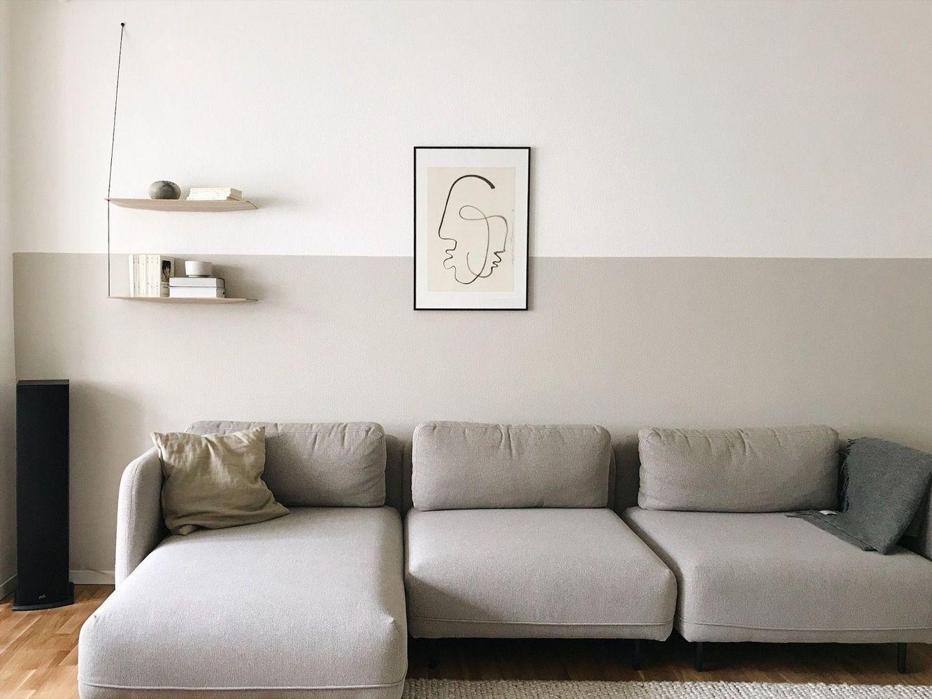 Wandgestaltung Wandfarbe Wohnzimmer Dunkle Möbel
