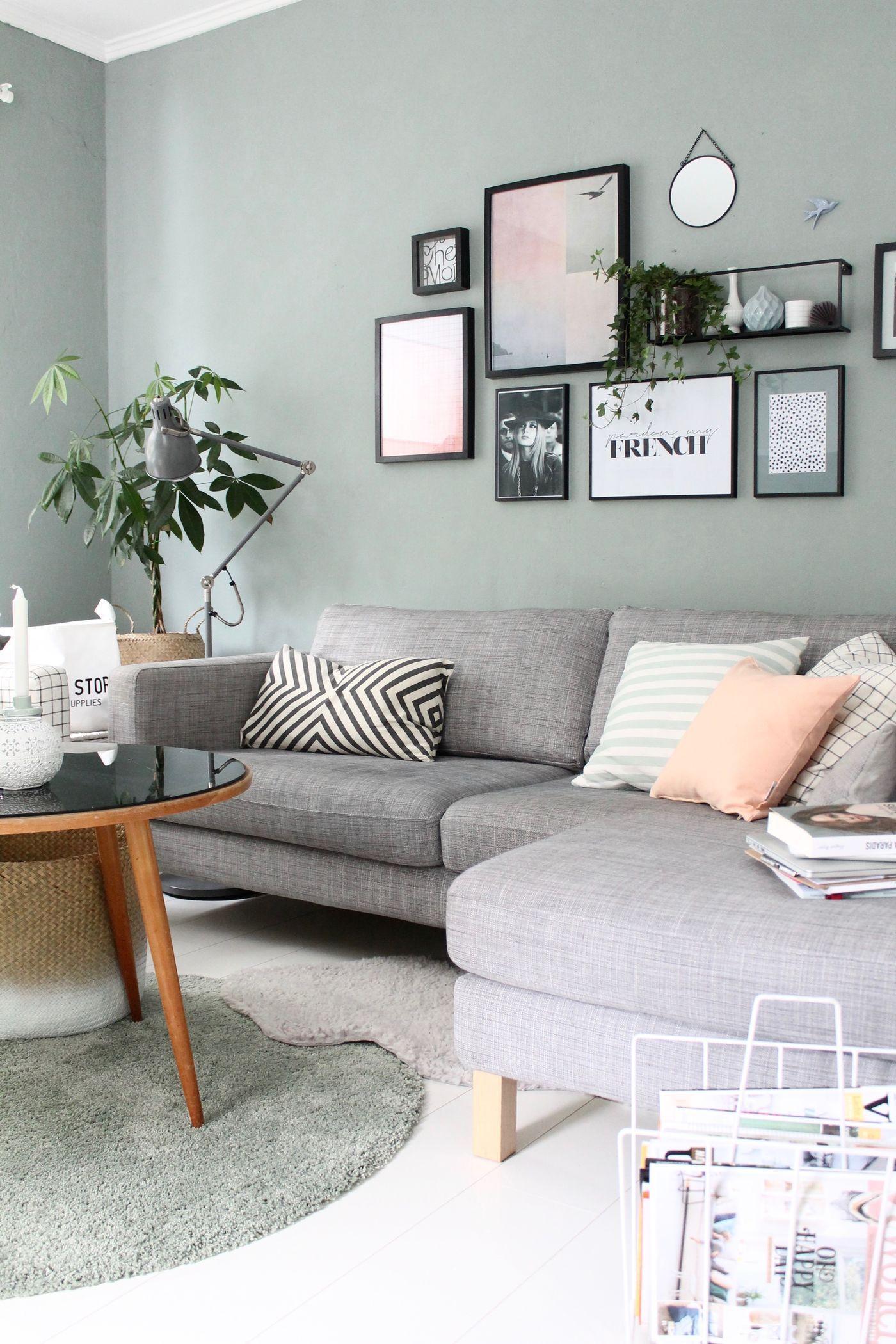 Wandgestaltung Wohnzimmer Grau Türkis