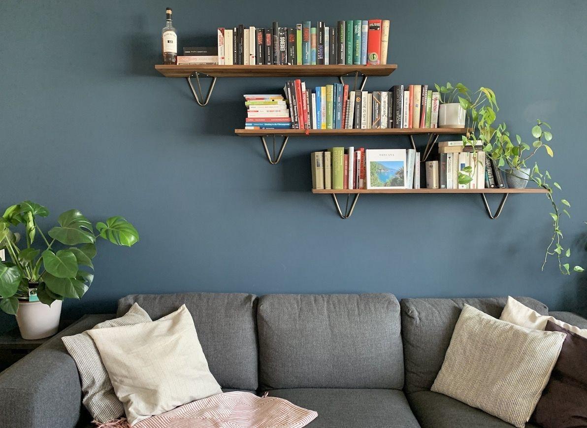 Wandgestaltung Wohnzimmer Grün Gold