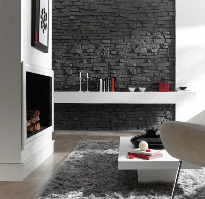 Wandverkleidung Steinoptik Wohnzimmer