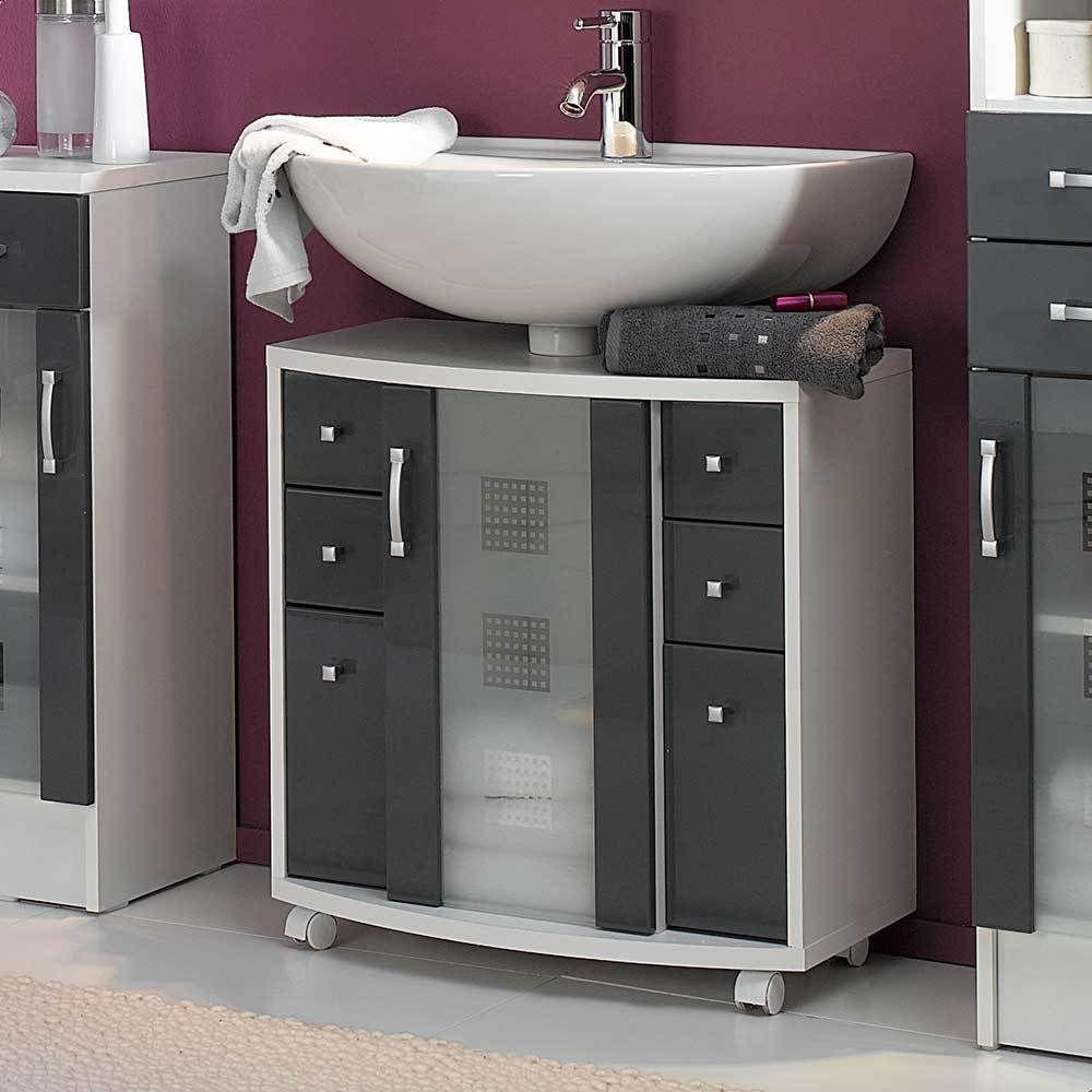 Waschbeckenunterschrank Anthrazit Hochglanz