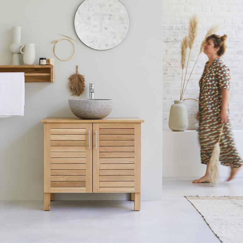 Waschbeckenunterschrank Doppelwaschbecken Holz