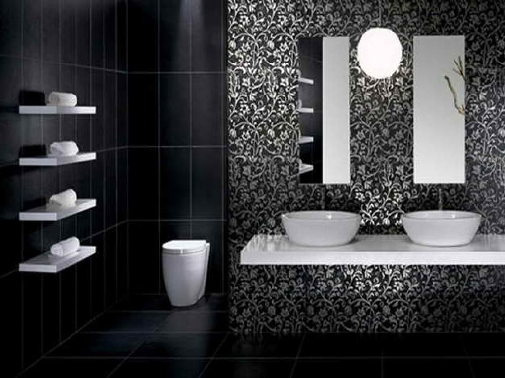 Weiß Schwarzes Badezimmer