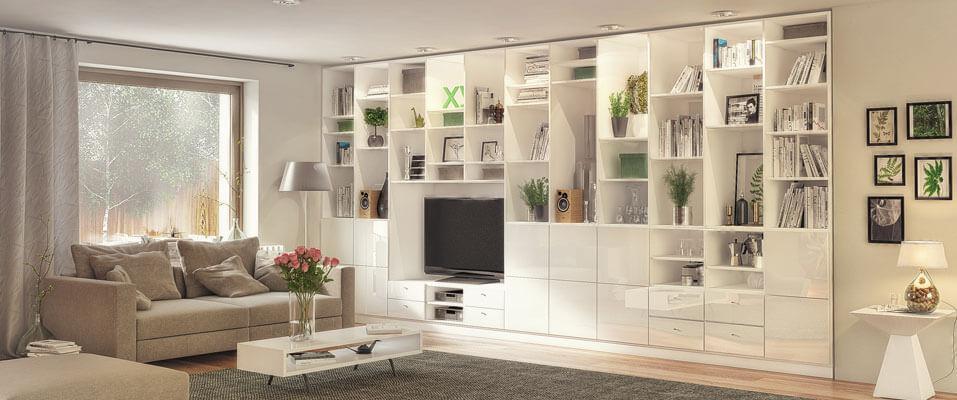 Weiße Anbauwand Wohnzimmer