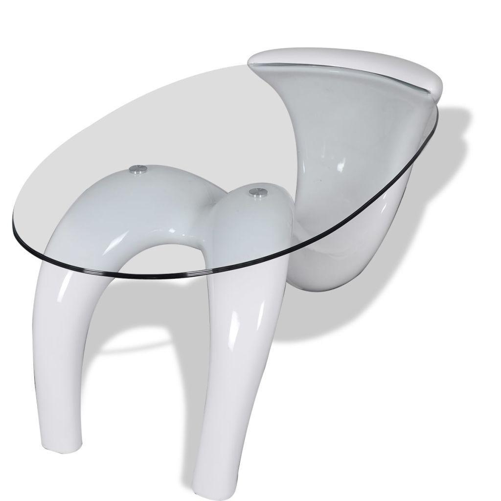 Weißer Glastisch Couchtisch
