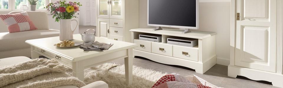 Wohnwand Buche Weiß Modern