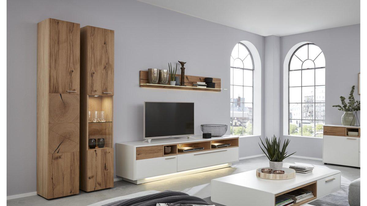 Wohnwand Echtholz Weiß