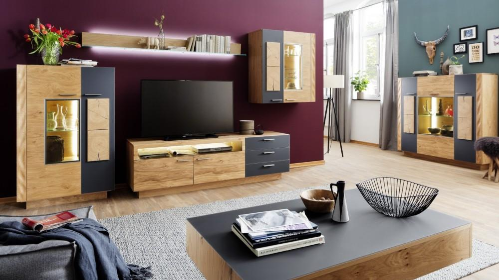 Wohnwand Holz Massiv Modern