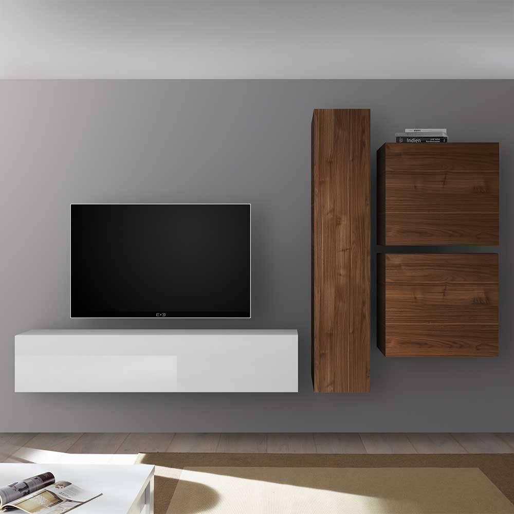Wohnwand Modern Weiß Mit Holz