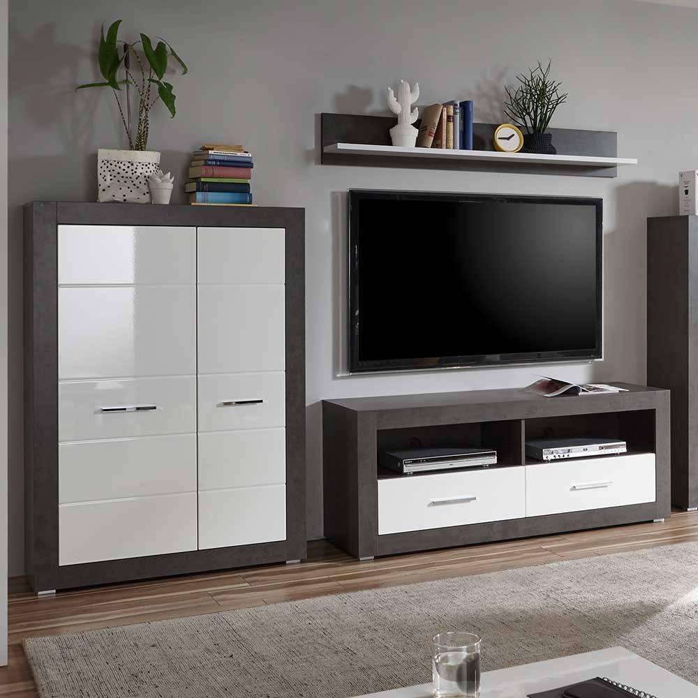 Wohnwand Weiß Grau Modern