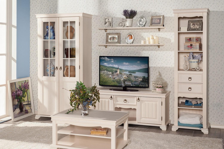 Wohnwand Weiß Holz Landhaus