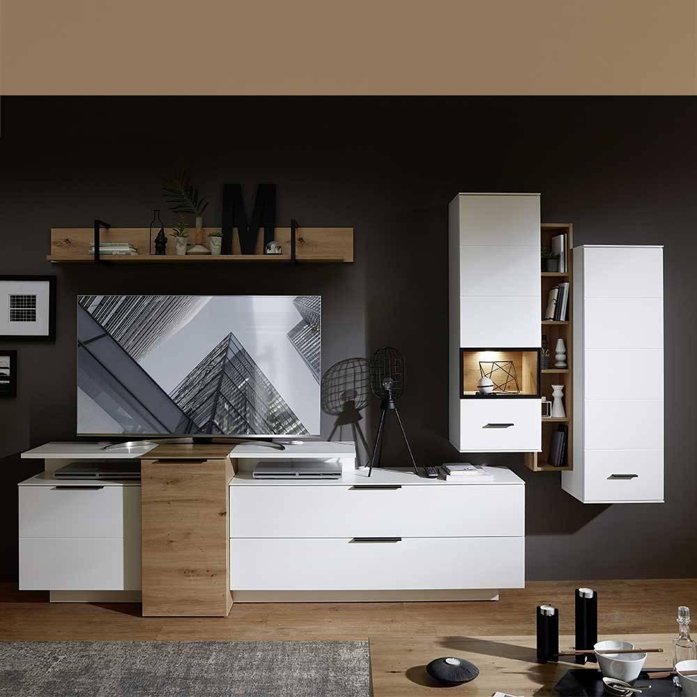 Wohnwand Weiß Holz Modern