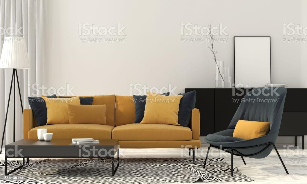Wohnzimmer Blau Gelb