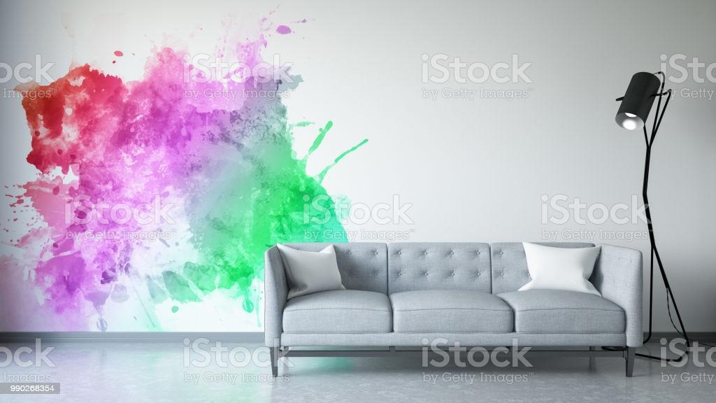 Wohnzimmer Bunte Wand