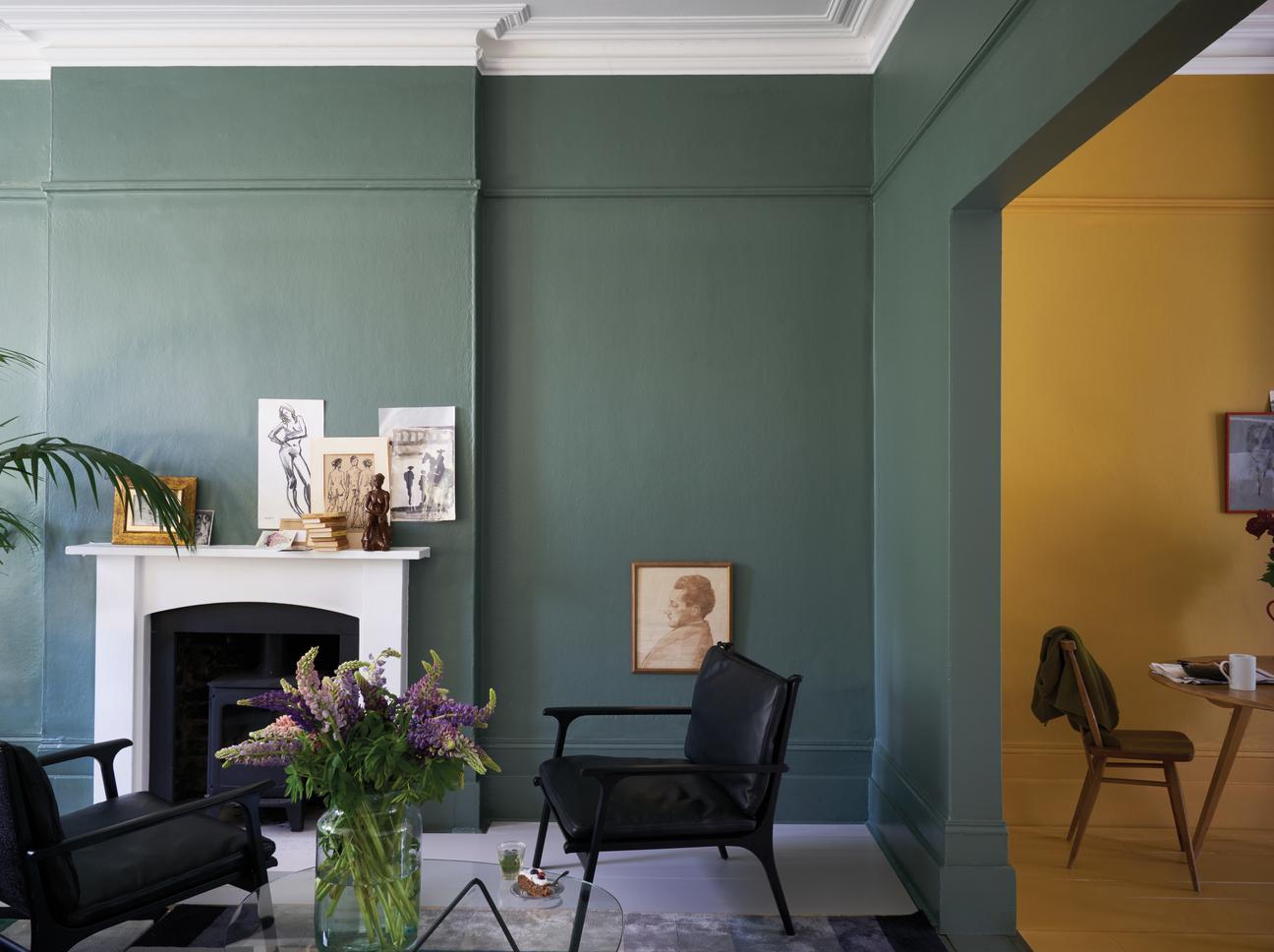 Wohnzimmer Dunkelgrün Wandfarbe