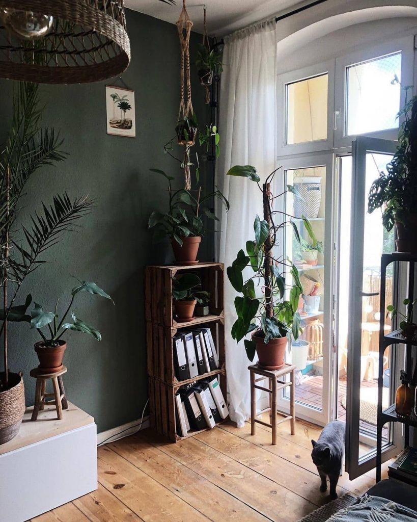 Wohnzimmer Dunkelgrüne Wand