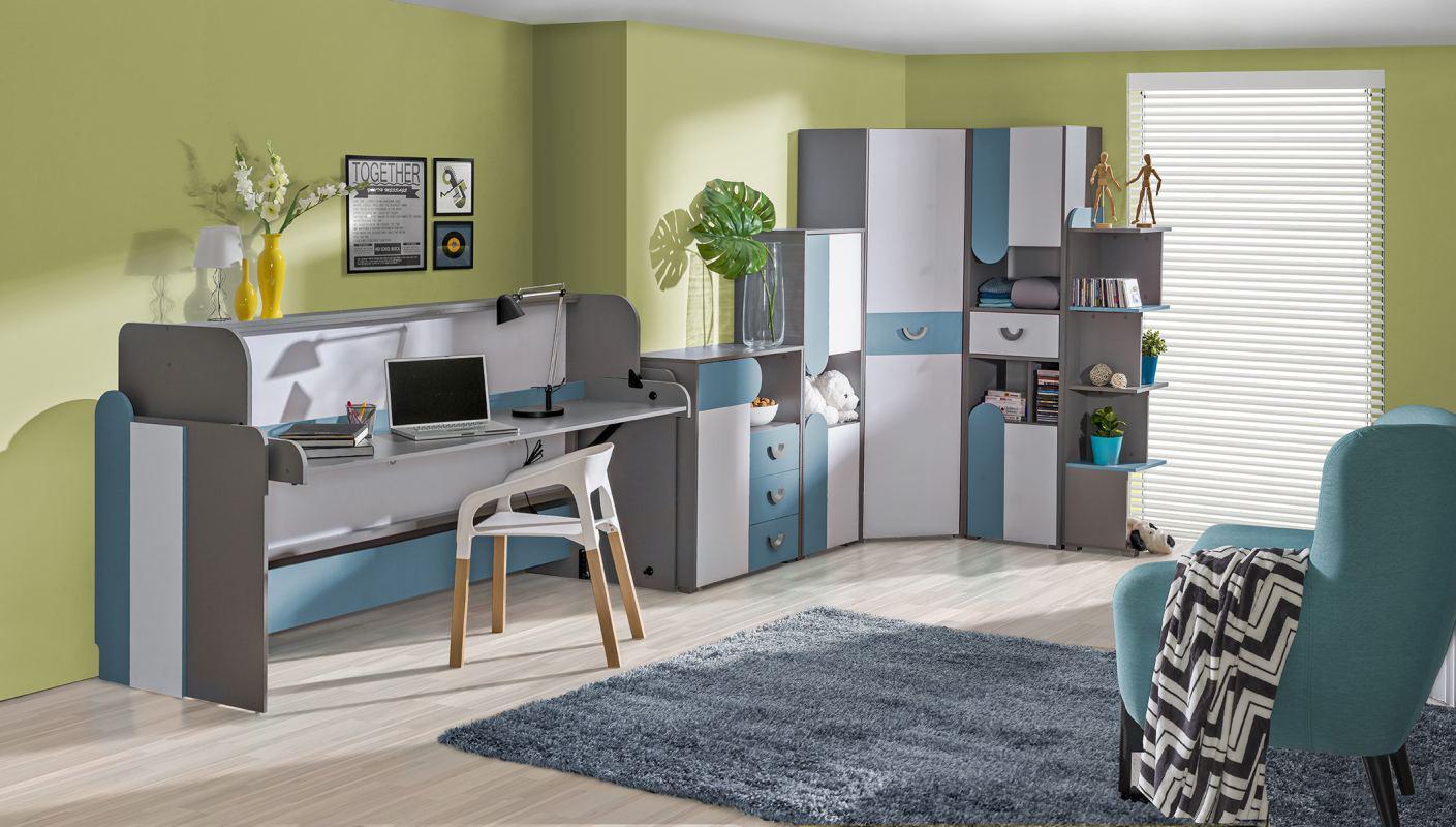Wohnzimmer Grau Blau Weiß