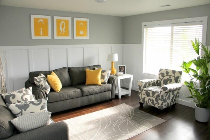 Wohnzimmer Grau Gelb