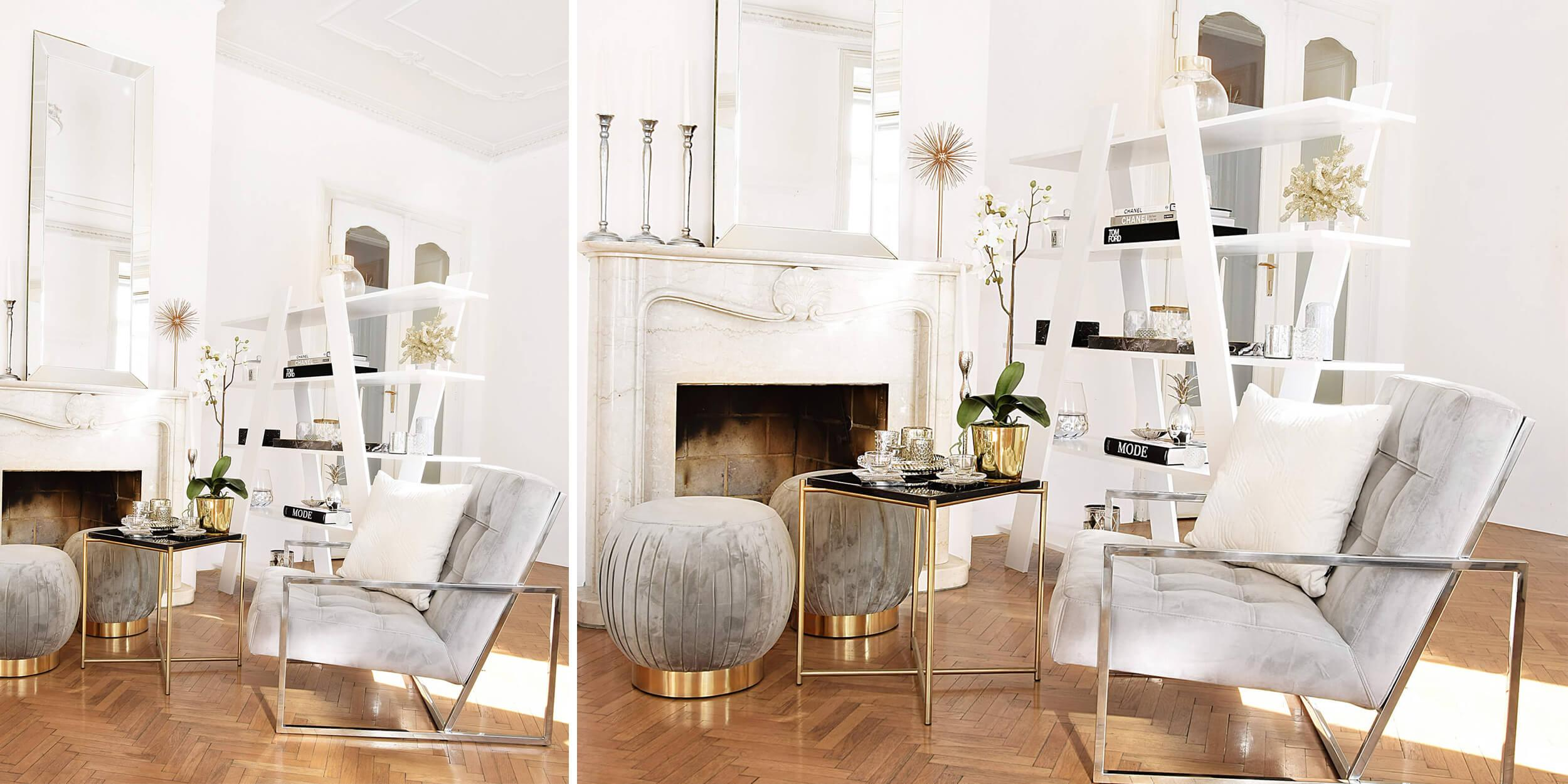 Wohnzimmer Grau Gold