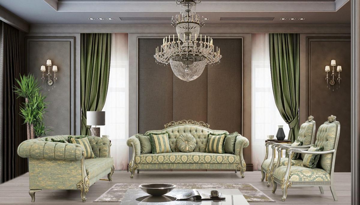 Wohnzimmer Grau Grün Gold