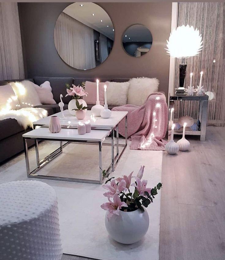 Wohnzimmer Grau Rosa Weiss