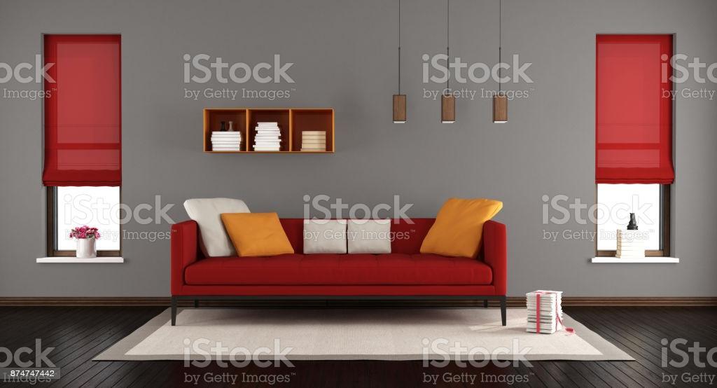 Wohnzimmer Grau Rot