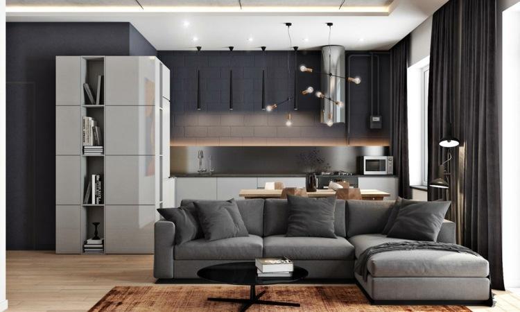 Wohnzimmer Grau Schwarz Braun