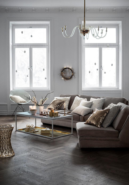 Wohnzimmer Grau Schwarz Gold