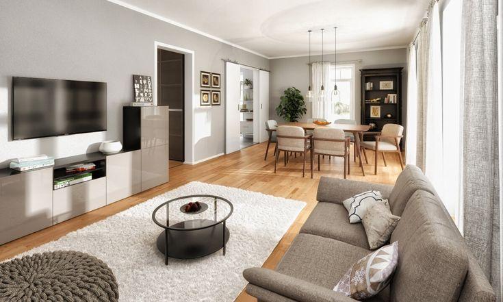 Wohnzimmer Grau Schwarz Holz
