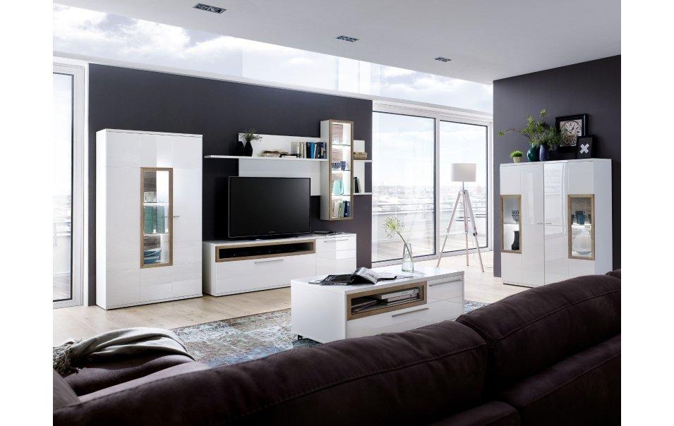 Wohnzimmer Highboard Weiß Hochglanz