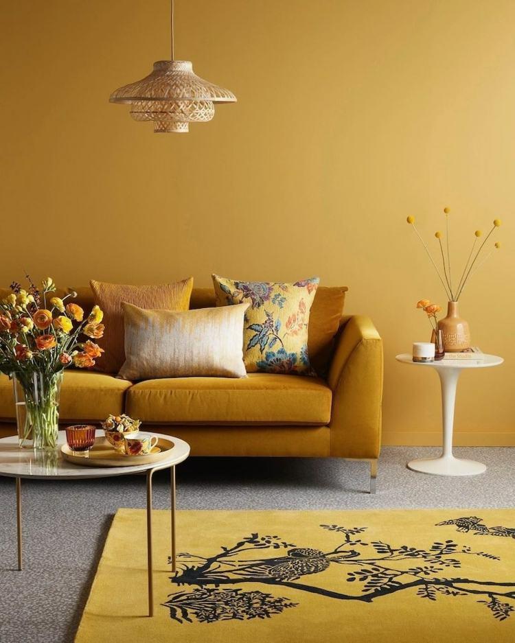 Wohnzimmer Ideen Gelbes Sofa