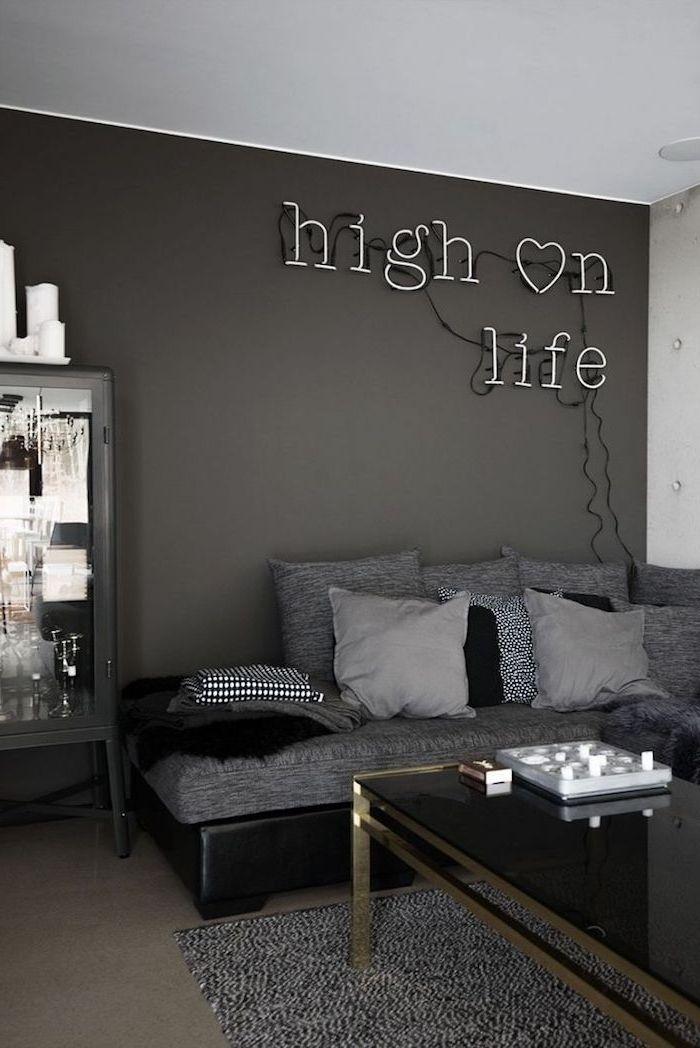 Wohnzimmer Ideen Wandgestaltung Grau