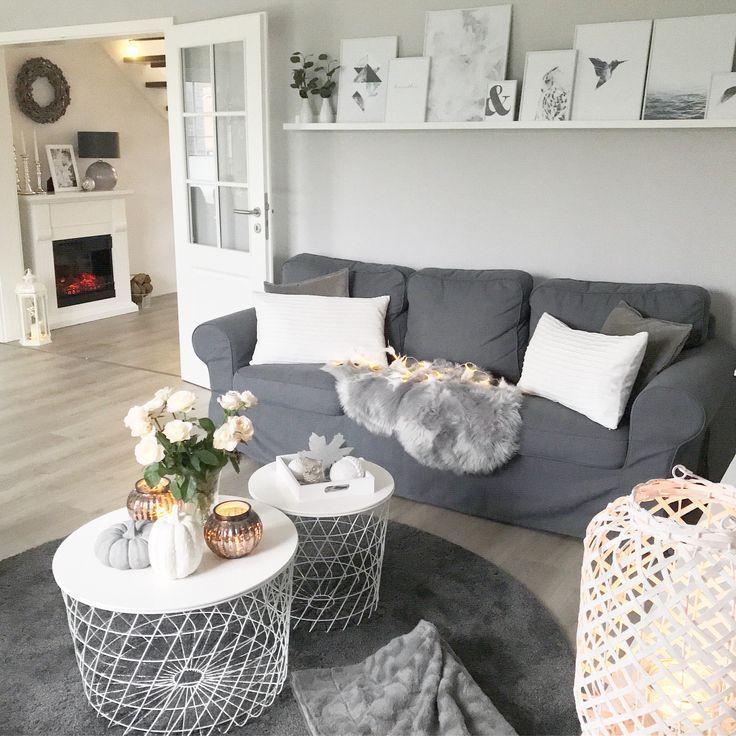 Wohnzimmer Landhausstil Weiß Grau