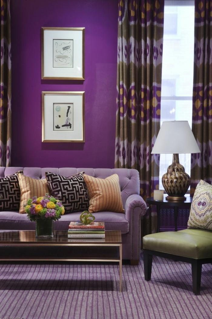 Wohnzimmer Lila Wand