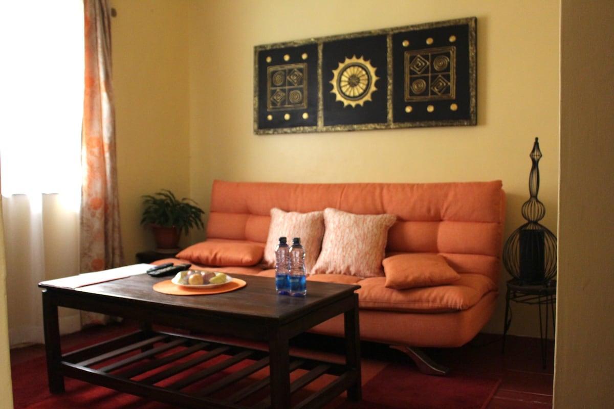 Wohnzimmer Orange Braun