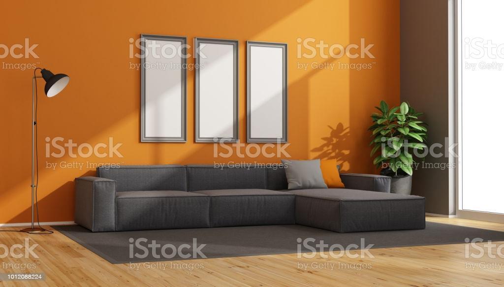 Wohnzimmer Orange Grau