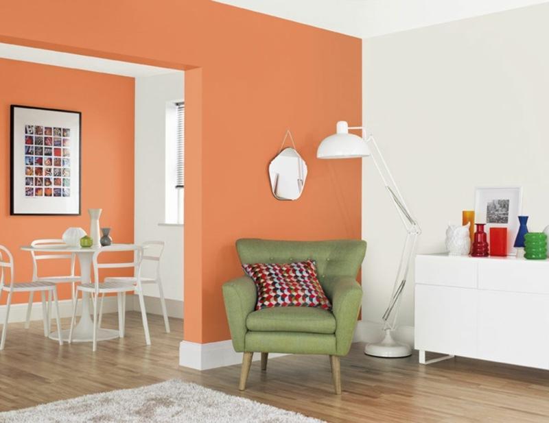 Wohnzimmer Orange Wandfarbe
