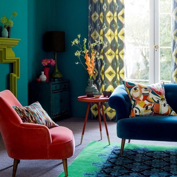 Wohnzimmer Petrol Wandfarbe