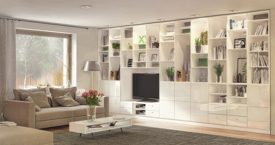 Wohnzimmer Regal Weiß Hochglanz