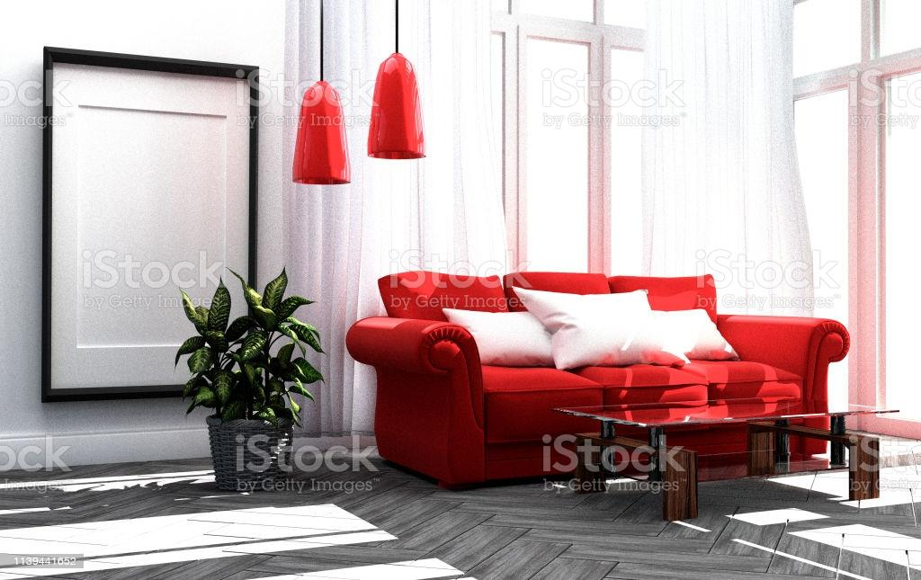 Wohnzimmer Rotes Sofa