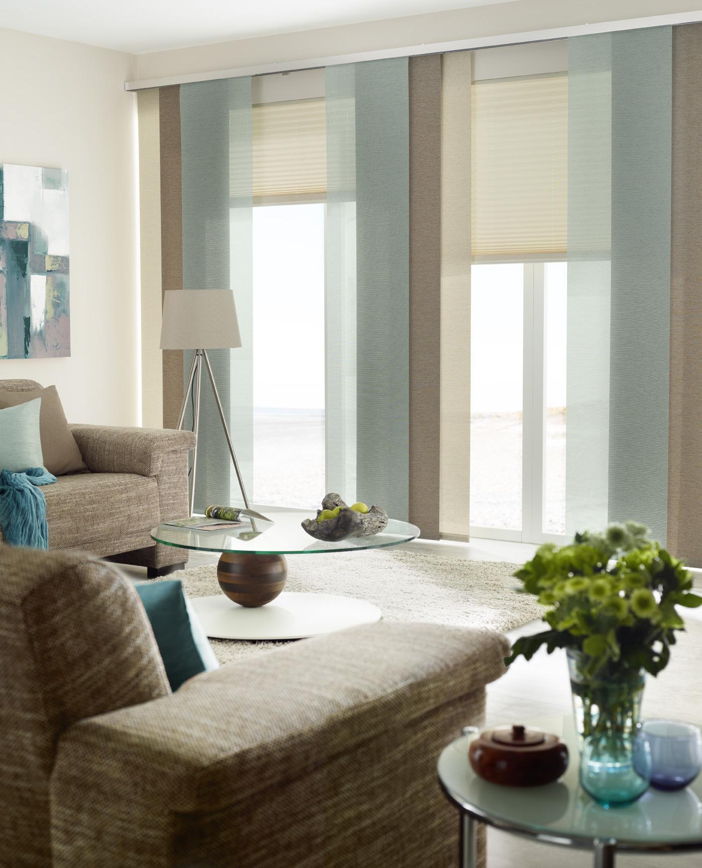 Wohnzimmer Schiebegardinen Mit Schals Kombinieren