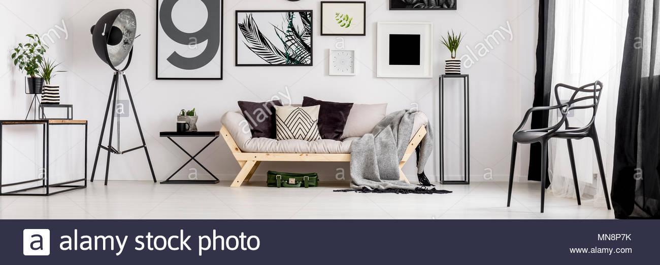 Wohnzimmer Schwarz Weiß Grau Holz