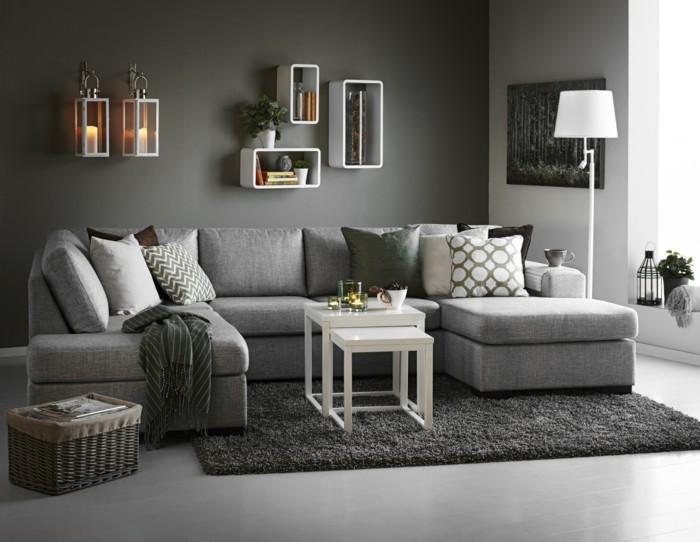 Wohnzimmer Steinwand Grau