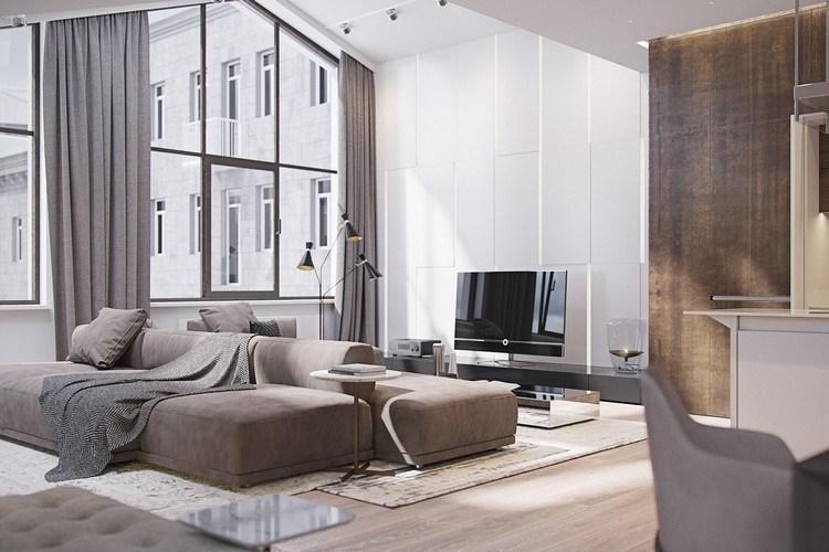 Wohnzimmer Taupe Weiß