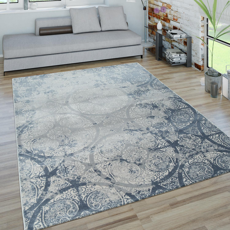 Wohnzimmer Teppich Grau Blau