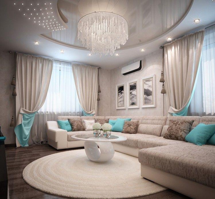 Wohnzimmer Türkis Braun