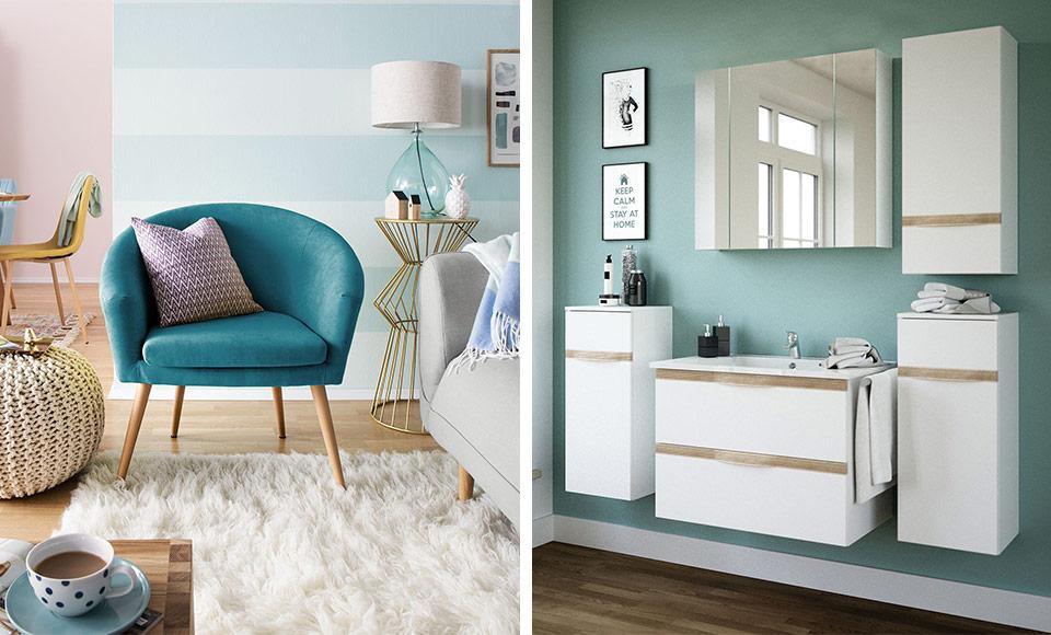 Wohnzimmer Türkis Wandfarbe