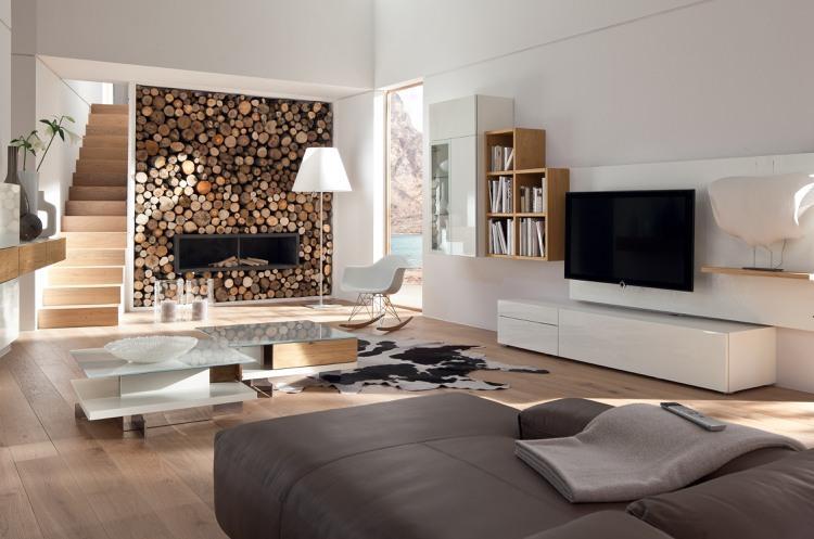 Wohnzimmer Wanddekoration Holz
