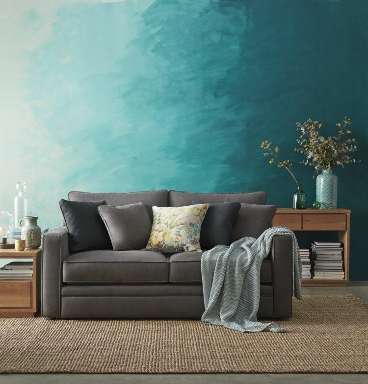 Wohnzimmer Wandfarbe Grau Blau