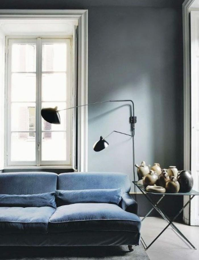 Wohnzimmer Wandfarbe Petrol Grau